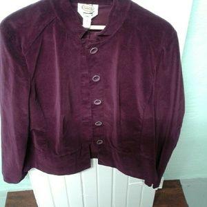 Talbots stretch plum color velvet feel blazer.  16